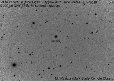 Starlink satellites cross field of NGC 6210 by myronwasiuta